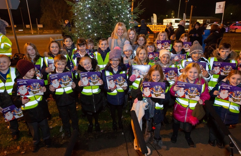 Pupils from Lostock Gralam Primary School with their selection boxes!